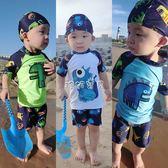 男童泳裝 兒童泳衣韓國寶寶男孩小中大男童三件套防曬速干溫泉泳裝分體泳褲 珍妮寶貝