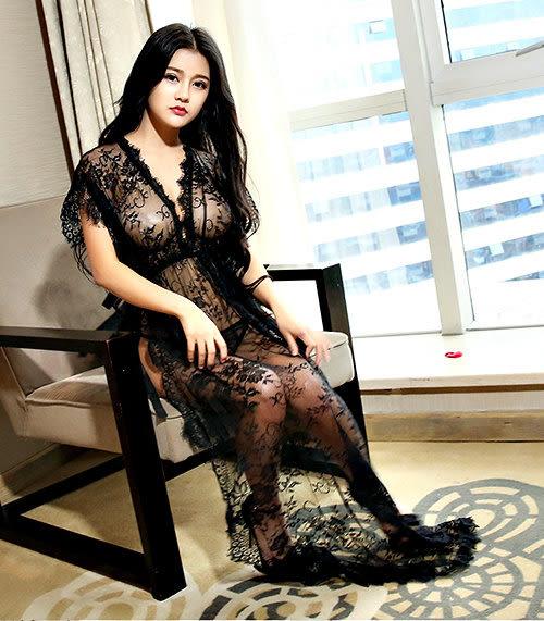 克妹Ke-Mei【AT39181】超犯規 奢華緹花蕾絲性感透視情趣睡衣長洋裝