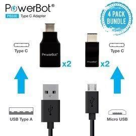 美國聲霸PowerBot PB330 Micro USB Type-C ,USB Type-C 轉接頭 4入1組