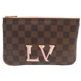 LOUIS VUITTON LV 路易威登 棋盤格粉色 雙層拉鍊斜背包Double Zip Pochette BRAND OFF