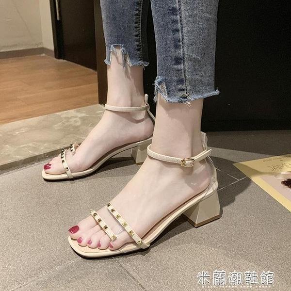 涼鞋女新款夏季仙女風一字帶韓范百搭中跟粗跟配裙子的高跟鞋 618大促銷