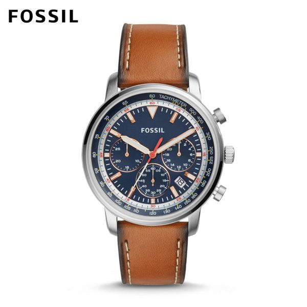 FOSSIL Goodwin Chrono 大贏家 視距儀三眼計時焦糖色皮革手錶 男 FS5414