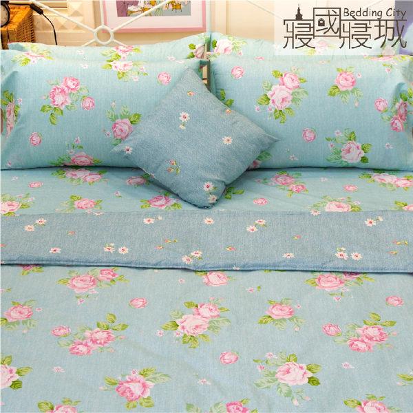 涼被組/加大床包4件組-【夢遊花綠】100%精梳純棉 #大鐘印染 #台灣製造