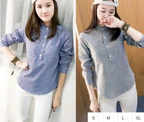 EASON SHOP(GU0920)實拍-小立領中山領雙口袋長袖襯衫S-XL韓版復古小清新女上排扣藍色藏藍色