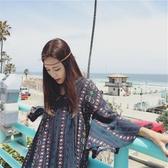 洋裝大碼沙灘裙洋裝女夏2018新款海邊度假裙子印花寬鬆長裙【快速出貨】