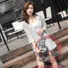 小西服兩件套裝S-XL798#新時尚夏網紅時髦洋氣西裝套裝女薄款寬松條紋短褲兩件套【風之海】
