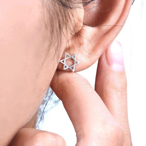 防抗過敏 雙面六芒星 耳環耳圈扣-銀