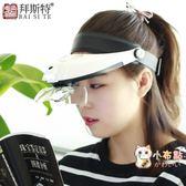 頭戴式放大鏡LED帶燈老人閱讀手機電腦鐘錶眼鏡送30倍鑒定功能