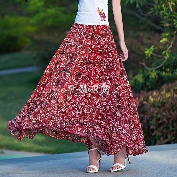 花色雪紡半身長裙女夏2021新款飄逸大擺仙女裙長款及踝度假沙灘裙 快速出貨