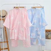 春夏季男女睡衣棉質紗布浴衣汗蒸服薄款大碼情侶家居套裝