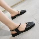 涼鞋女方頭時尚低跟一字帶包頭粗跟女鞋百搭兩穿學生鞋 現貨快出