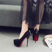 高跟鞋 春秋新款恨天高超高跟單鞋圓頭細跟絨面黑色14cm夜店高跟鞋女-CY潮流站