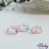 戒指 韓國直送‧蛋白石愛心水鑽雙層指環戒指-Ruby s 露比午茶