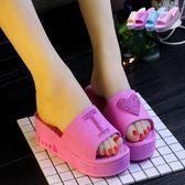 拖鞋女夏季可愛桃心厚底涼拖鞋居家浴室軟底中跟一字拖防滑沙灘鞋