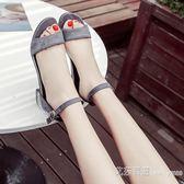 露趾平底涼鞋女春夏季新款韓版chic一字扣百搭學生羅馬女鞋子 艾莎嚴選