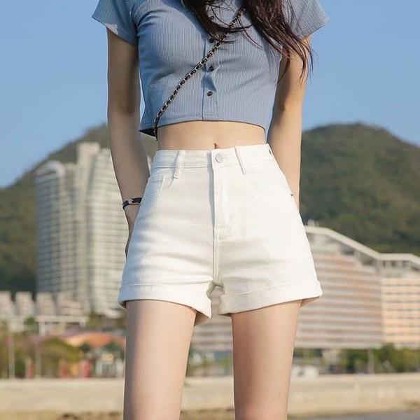 短褲 牛仔短褲女夏裝2021新款高腰顯瘦緊身個性百搭網紅拉鏈彈力超短褲 全館免運
