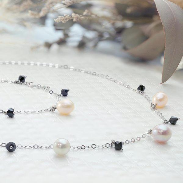 ﹝鑽石屋﹞黑水晶珍珠項鍊 天然彩珠 粉色珍珠(另有手環)