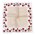 Sybilla 玫瑰印花純綿帕領巾(淺卡其色)
