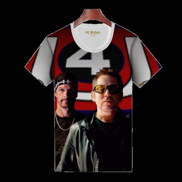Qoqozozo新品 U2搖滾樂隊T恤大碼短袖青少年上衣個性新潮全印花