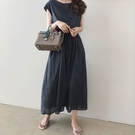 微購【A4432】簡約棉麻收腰短袖洋裝 ...