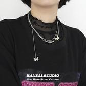項鏈 KANSAI新品鈦鋼雙蝴蝶吊墜雙層疊帶冷淡風配飾毛衣鏈嘻哈潮款項鏈 小衣里