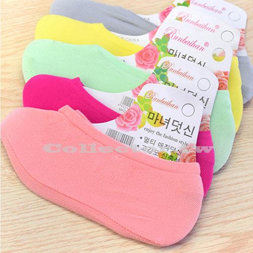 糖果色夏季隱形女用防滑矽膠短襪 船襪 薄款淺口防臭襪