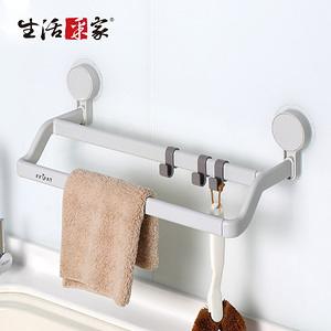 【生活采家】浴室廚房強力無痕貼雙桿短抹布工具架#57017入