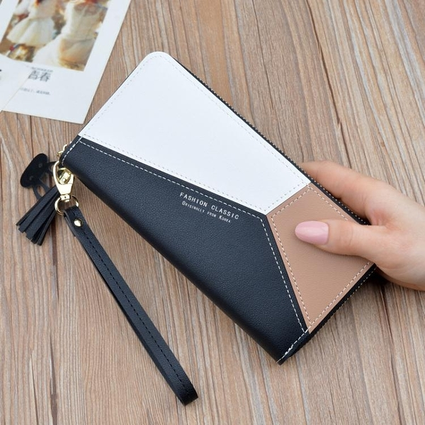 長夾 女士手拿錢包女長款三色拼接撞色氣質簡約拉鏈手機包學生錢夾皮夾