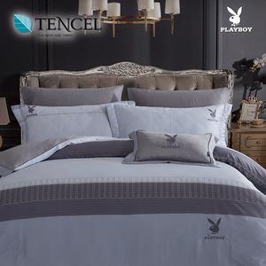 【貝兒寢飾】PLAYBOY 60支萊賽爾天絲兩用被床包+刺繡抱枕五件組(加大/頃世流