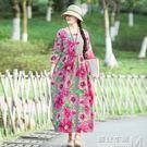 洋裝圓領裙子半袖印花新款女寬鬆大碼休閒棉麻收腰連身裙 遇見生活