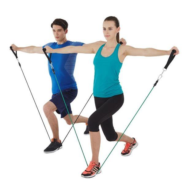 拉力繩健身男女力量訓練套裝彈力帶胸肌擴胸器彈力繩健身器材家用       琉璃美衣