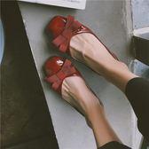 仙女單鞋女百搭韓版平底溫柔晚晚紅色網紅瓢鞋豆豆鞋  魔法鞋櫃