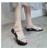 涼鞋 新款時尚潮女鞋一字帶一鞋兩穿亮片鉆石平跟平底外穿女夏涼拖