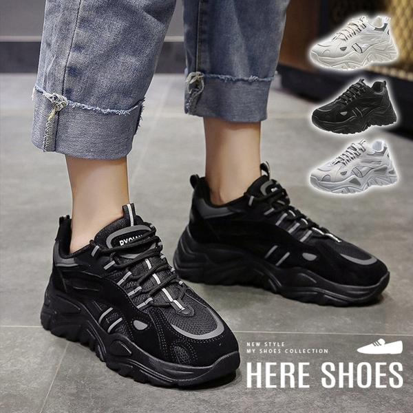 [Here Shoes] 6cm休閒鞋 百搭網布透氣反光設計 皮革厚底綁帶運動休閒鞋 老爹鞋-KCW2628