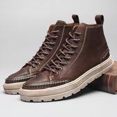 男士靴子男英倫休閒馬丁靴男冬季工裝靴男高筒