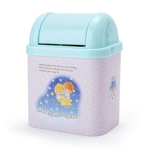 【震撼精品百貨】Little Twin Stars KiKi&La 雙子星小天使~桌上型搖蓋式迷你垃圾筒(手繪冬日)#65017