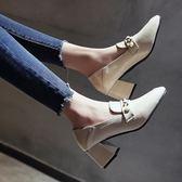 2018女鞋韓版百搭方頭中口皮面粗跟高跟鞋