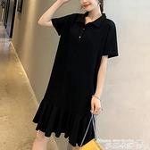 大碼洋裝 夏季韓版大碼女裝胖妹妹短袖襯衫打底衫女中長款寬鬆連身裙200斤 曼慕