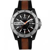 【台南 時代鐘錶 POLICE】義式潮流 CHELTENHAM堅毅品味時尚腕錶 15532JSUS-02 黑/咖啡 46mm