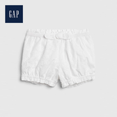 Gap 嬰兒 甜美鏤空刺繡鬆緊短褲 544301-光感白