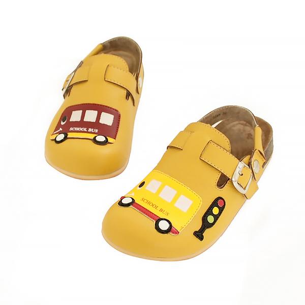 【Jingle】快樂上學前包後空軟木休閒鞋(芥末黃大人款)