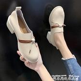 粗跟小皮鞋女鞋春季新款單鞋百搭高跟職業粗跟工作小皮鞋英倫中跟樂福鞋  迷你屋 新品