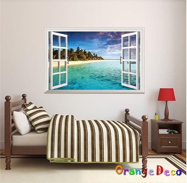 壁貼【橘果設計】窗外海邊 DIY組合壁貼 牆貼 壁紙 壁貼 室內設計 裝潢 壁貼
