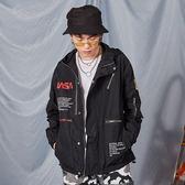 虧本促銷-外套男Nasa城市機能連帽風衣歐美情侶寬鬆加棉外套wy