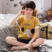 兒童睡衣 男短袖純棉男童套裝中大童小孩寶寶薄款全棉男孩居服 DJ7782『麗人雅苑』