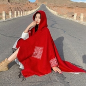 秋冬季開叉披肩西藏旅游保暖圍巾斗篷連帽加厚韓版空調房披風女士 韓國時尚週