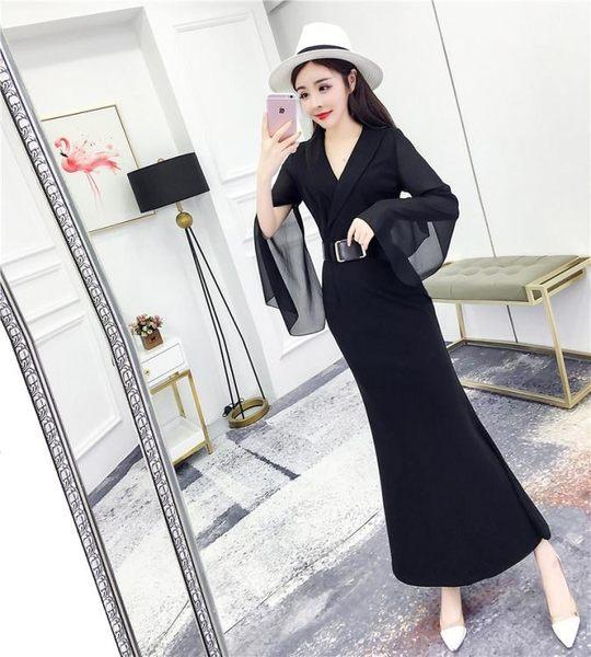 秋春女2019新款韓版氣質長袖高腰打底連身裙修身包臀魚尾 伊蒂斯女裝