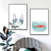 貓咪和小魚油畫裝飾掛畫組合餐廳卡通清新可愛北歐兒童房裝飾油畫WY【店慶滿月好康八折】