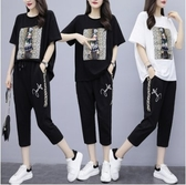 韓版二件式中大尺碼上衣褲子L-4XL夏季新款大碼女裝兩件套R05.7128胖胖唯依