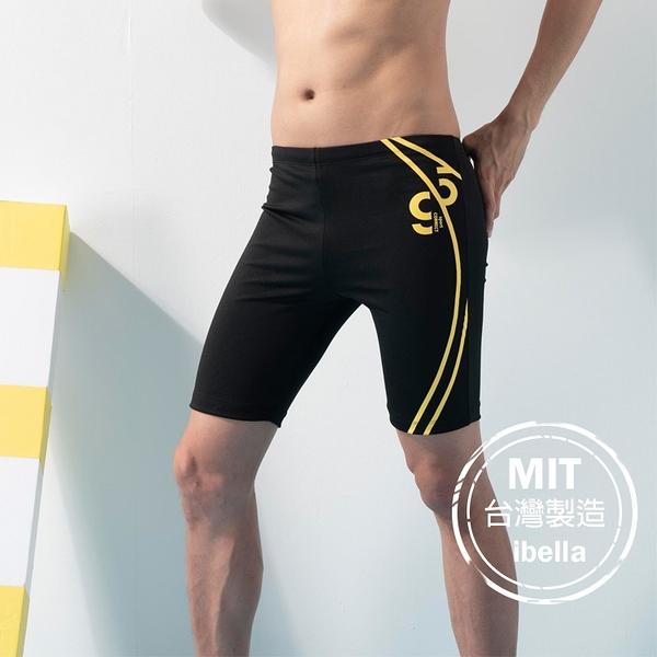 黃條印花男七分褲平口泳褲現貨台灣製造【36-66-820307-21】ibella 艾貝拉